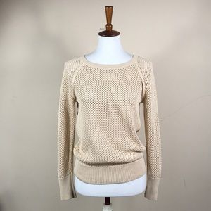 J Crew Brown Crotchet Cotton Pullover Sweater Top